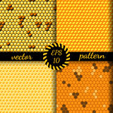 Seamless vector pattern of honey cells, combs. Set of four 4 patterns Stock Photos