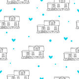 Seamless vector pattern of the houses Royalty Free Stock Photo