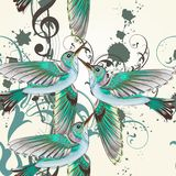 Seamless vector pattern with humming birds in watercolor style royalty free illustration