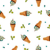 Seamless vector pattern of ice cream Royalty Free Stock Photos