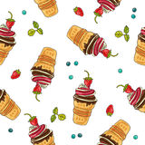 Seamless vector pattern of ice cream Stock Images