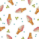 Seamless vector pattern of ice cream Stock Photo