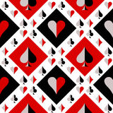 Seamless vector pattern with icons of playing cards. Black, red and white repeating background. Series og Gaming and Gambling Seamless Patterns Stock Images