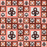 Seamless vector pattern with icons of playing cards. Bright red and black asymmetrical geometric background Royalty Free Stock Image