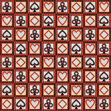 Seamless vector pattern with icons of playing cards. Bright red, black and white symmetrical geometric background Royalty Free Stock Photo