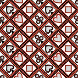 Seamless vector pattern with icons of playing cards. Bright red, black and white symmetrical geometric background Royalty Free Stock Image