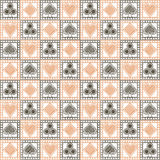 Seamless vector pattern with icons of playing cards. Light black and white symmetrical geometric background Royalty Free Stock Image