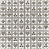Seamless vector pattern with icons of playing cards. Pastel gray symmetrical geometric background. Stock Photos