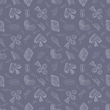Seamless vector pattern with icons of playing cards and scribble on the blue background. Stock Photography