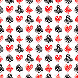 Seamless vector pattern with icons of playings cards. Background with black and red  hand drawn ornamental symbols Royalty Free Stock Photos
