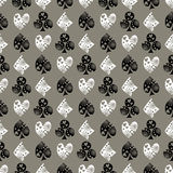 Seamless vector pattern with icons of playings cards. Background with black and white  hand drawn ornamental symbols. Stock Photos