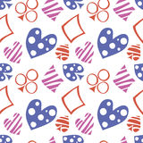 Seamless vector pattern with icons of playings cards. Background with blue, red and pink hand drawn ornamental symbols. Royalty Free Stock Images