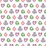 Seamless vector pattern with icons of playings cards. Background with colorful  hand drawn ornamental symbols on white. Stock Image
