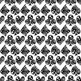 Seamless vector pattern with icons of playings cards. Black and white background with hand drawn symbols. Decorative repeat orname Royalty Free Stock Images