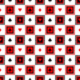 Seamless vector pattern with icons of playings cards. Bright red, black and white symmetrical geometric background. Stock Images