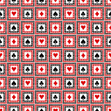 Seamless vector pattern with icons of playings cards. Bright red, black and white symmetrical geometric background Stock Photos