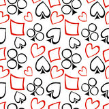 Seamless vector pattern with icons of playings cards. Chaotic background with black and red hand drawn symbols Royalty Free Stock Photography