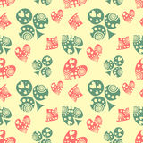 Seamless vector pattern with icons of playings cards. Royalty Free Stock Photo