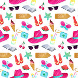 Seamless vector pattern. The illustration on the theme of summer. And summer holidays. Repeat background with hat, butterfly, ice cream, camera, watermelon Stock Images