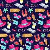 Seamless vector pattern. The illustration on the theme of summer. And summer holidays. Repeat background with hat, butterfly, ice cream, camera, watermelon Royalty Free Stock Photography