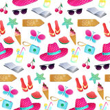 Seamless vector pattern. The illustration on the theme of summer. And summer holidays. Repeat background with hat, butterfly, ice cream, camera, watermelon Stock Photos