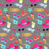 Seamless vector pattern. The illustration on the theme of summer. And summer holidays. Repeat background with hat, butterfly, ice cream, camera, watermelon Royalty Free Stock Image