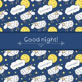 Seamless vector pattern with images cute sheep on Royalty Free Stock Photography