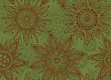 Seamless  vector pattern with indian ornament of the suns Royalty Free Stock Images