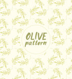 Seamless vector pattern ink drawn olive branch Royalty Free Stock Photos