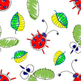 Seamless vector pattern with insect. Stock Photography