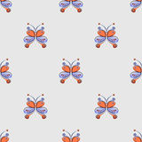 Seamless vector pattern with insect. Decorative colorful ornamental background with butterflies on the blue backdrop. Royalty Free Stock Images