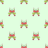 Seamless vector pattern with insect. Decorative colorful ornamental background with butterflies on the green backdrop Royalty Free Stock Photo