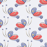 Seamless vector pattern with insect. Decorative ornamental background with butterflies. Royalty Free Stock Photos