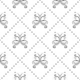 Seamless vector pattern with insect. Decorative symmetrical black and white ornamental background with butterflies and rhombus. Royalty Free Stock Images
