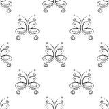 Seamless vector pattern with insect. Decorative symmetrical black and white ornamental background with butterflies and rhombus Stock Photo