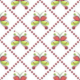 Seamless vector pattern with insect. Decorative symmetrical ornamental background with butterflies and rhombus Stock Photos