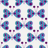 Seamless vector pattern with insects, background with blue stylized decorative butterflies on the grey lined backdrop. Stock Image