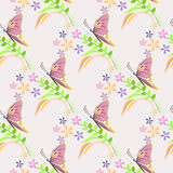 Seamless vector pattern with insects, background with colorful butterflies, flowers and branches with leaves over light backdrop Stock Photography