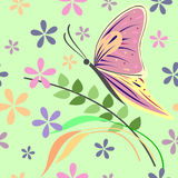Seamless vector pattern with insects, background with colorful closeup butterfly, flowers and branches with leaves  Royalty Free Stock Images