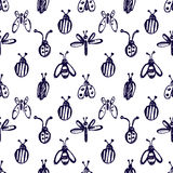Seamless vector pattern with insects, background with ladubugs, wasps, beetle, butterflies and dragonflies. Stock Photography