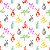 Seamless vector pattern with insects, background with ladubugs, wasps, beetle, butterflies and dragonflies. Stock Images