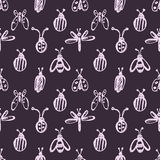 Seamless vector pattern with insects, background with ladubugs, wasps, beetle, butterflies and dragonflies. Stock Photo