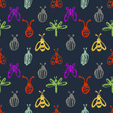 Seamless vector pattern with insects, background with ladubugs, wasps, beetle, butterflies and dragonflies. Stock Image