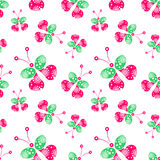 Seamless vector pattern with insects, background with pink and green decorative ornamental beautiful butterflies. Royalty Free Stock Image