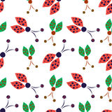 Seamless vector pattern with insects, background with red and green hand drawn decorative ladybugs on the white backdrop Royalty Free Stock Photography
