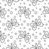 Seamless vector pattern with insects, black and white background with butterflies and dots Stock Images