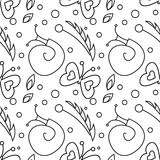 Seamless vector pattern with insects, black and white background with snails, butterflies and dots Stock Photo
