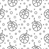 Seamless vector pattern with insects, black and white background with snails and dots Royalty Free Stock Photo