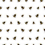 Seamless vector pattern with insects. Chaotic background with bees on the white backdrop Royalty Free Stock Images