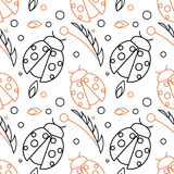 Seamless vector pattern with insects, chaotic background with black and red ladybugs and leaves on the white backdrop Royalty Free Stock Photo